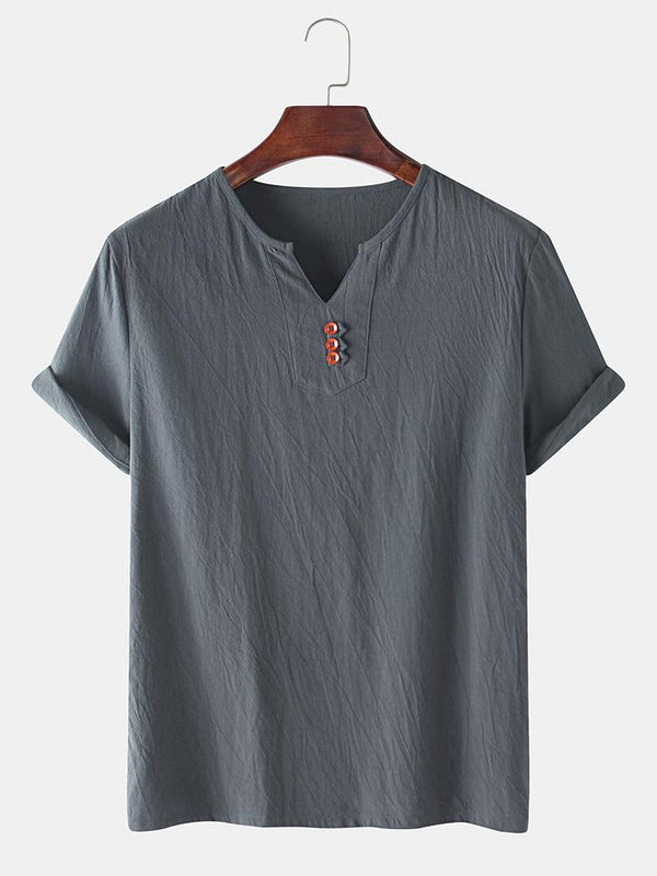 Mens Chainese Style Casual Button V Neck Short Sleeve T-shirt