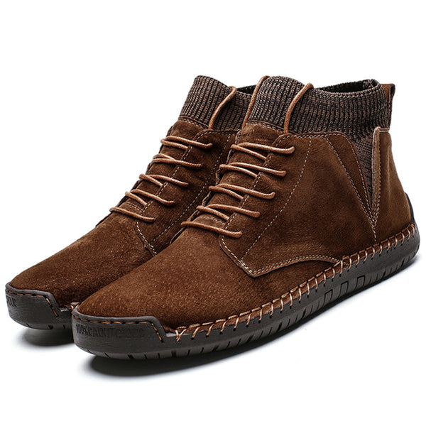 Men Suede Fabric Splicing Hand Stitching Non Slip Casual Boots
