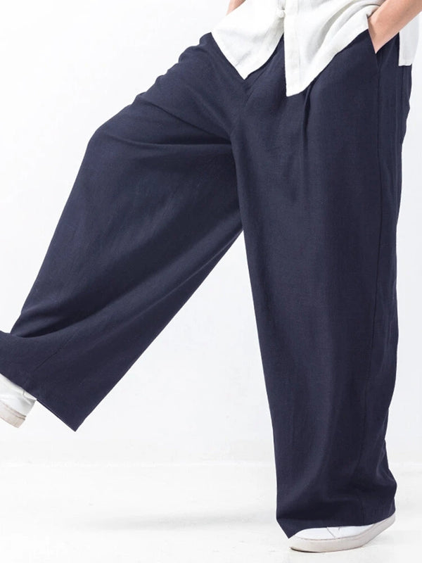Mens Baggy Style Cotton Solid Color Elastic Waist Casual Wide Leg Pants