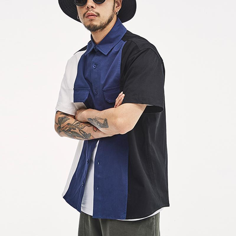 Mens Funny Contrast Color Chest Pockets Turn Down Collar Short Sleeve Casual Loose Shirts