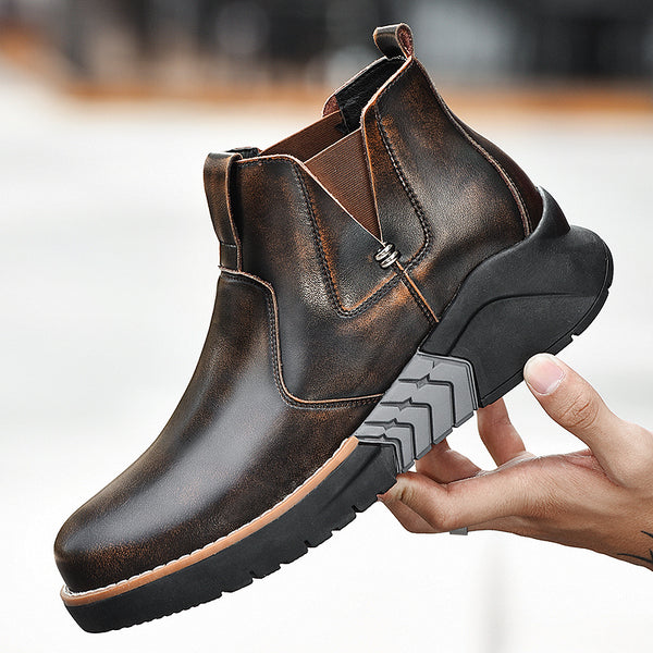 Men Vintage Outdoor Work Style Elastic Slip On Casual Leather Boots