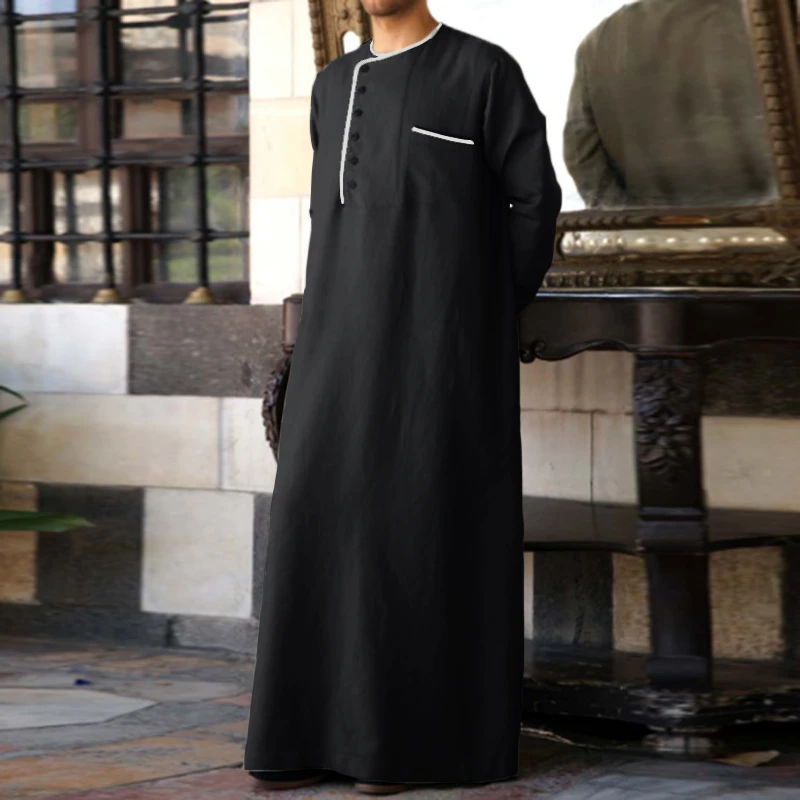 Mens Mid-Long Loose Fit Mid-East Indian Muslim Dress Robe