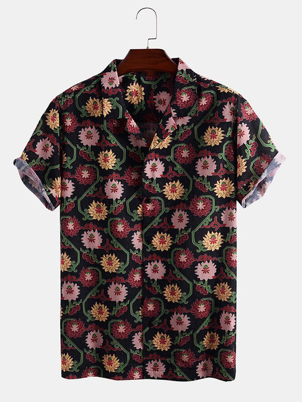 Mens Floral Ethnic Print Short Sleeve Light Shirts