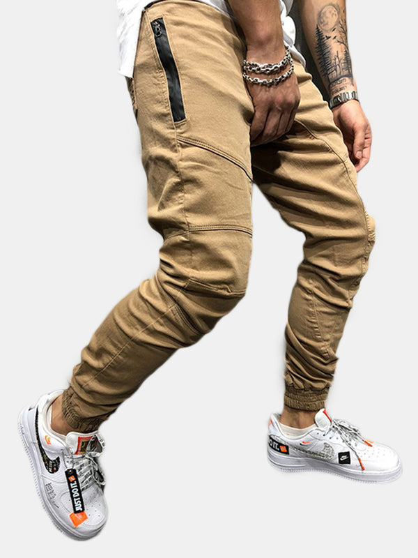Mens Casual Multi Pockets Drawstring Elastic Waist Cargo Pants