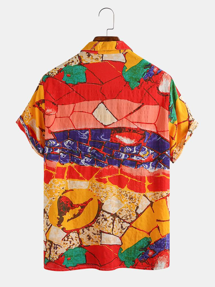 Mens Vintage Colorblock Oil Painting Casual Short Sleeve Shirts