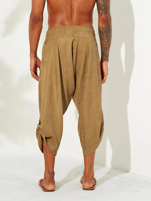 Mens Vintage Ethnic Style Calf-Length Loose Drawstring Casual Harem Pants