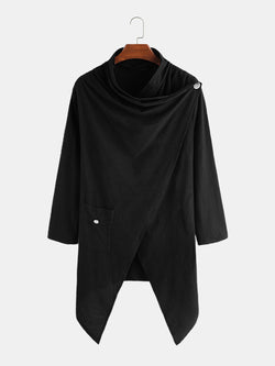 Mens Plain 100% Cotton Irregular Blouse Shawl Collar Long Cardigans