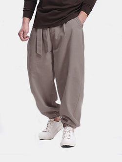 Mens Casual Solid Color Loose Breathable Tie Up Track Pants