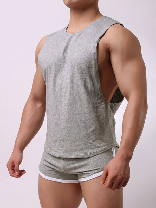 Men Loose Pajamas Set Side Open Tank Tops Thin Breathable Boxer Shorts Plain Home Loungwear
