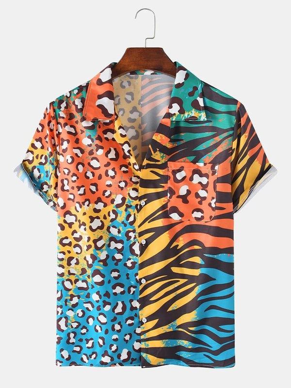 Mens Ethnic Zebra Stripe & Leopard Print Patchwork Holiday Revere Collar Short Sleeve Shirt