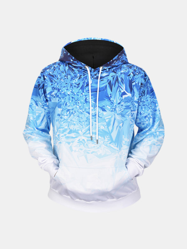 Men's Ice Crystals 3D Printing Long Sleeve Casual Fashion Drawstring Hooded Tops