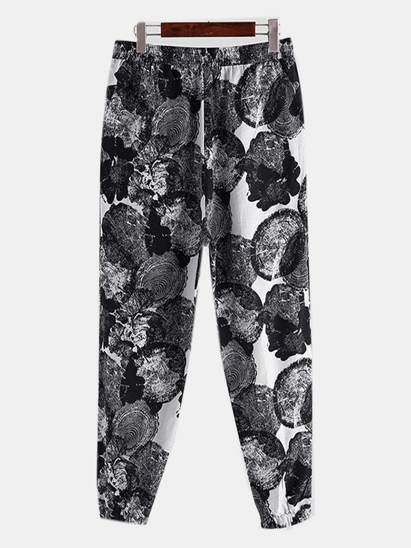 Mens 100%Cotton Ethnic Chinese Style Floral Harem Pants