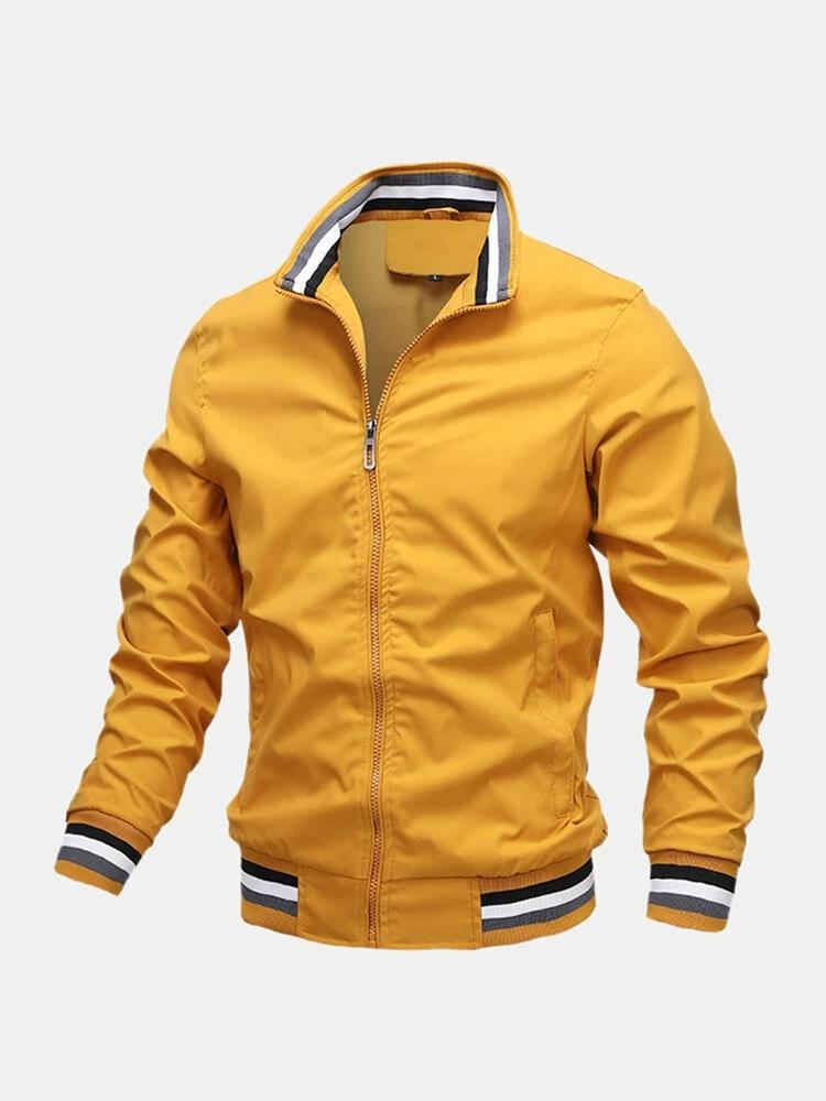 Mens Sport Outdoor Loose Zipper Up Stand Collar Solid Lightweight Jacket