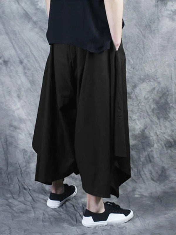 Mens Harem Pants Japanese Trousers Hakama Wide Leg Black