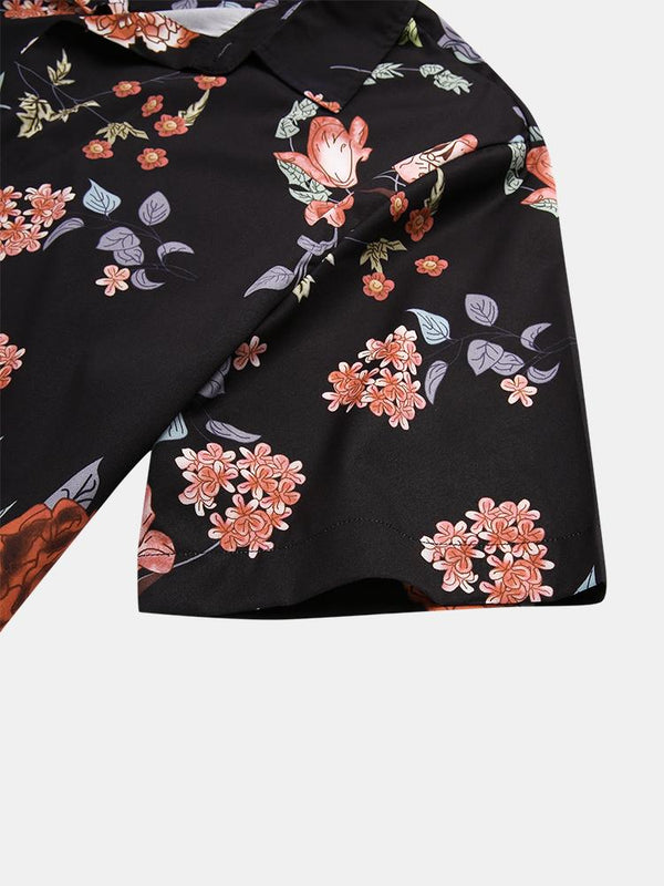 Men Floral Printed Holiday Casual Turn-down Collar Shirt