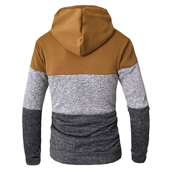 Mens Casual Stitching Drawstring Design Sweatshirt Long Sleeve Cotton Hoodies