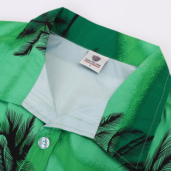 Beach Swimming Breathable Coconut Tree Printing Loose Hawaiian Shirts for Men