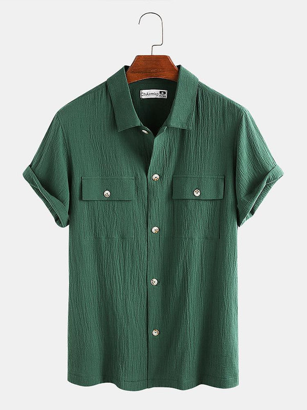 Mens 100% Cotton Double Pockets Short Sleeve Shirts