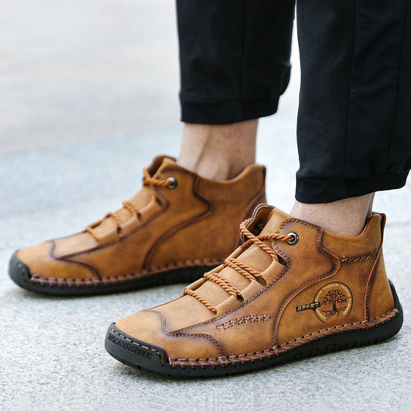 Menico Men Vintage Hand Stitching Comfort Soft Leather Shoes
