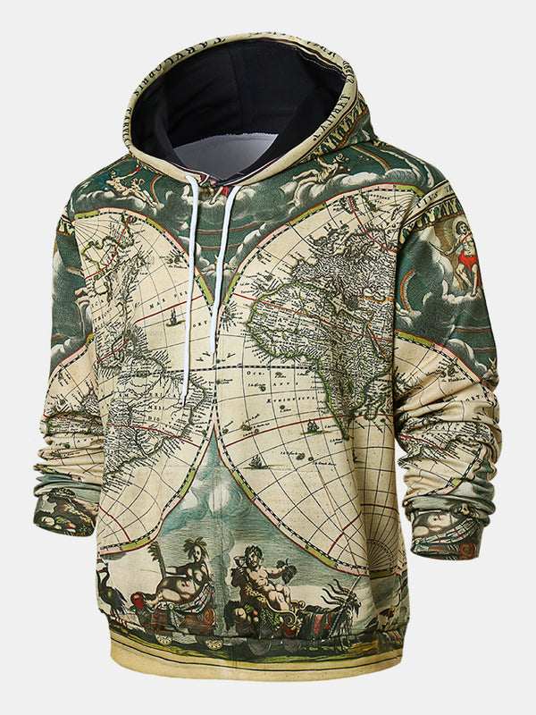 Mens Cool World Map Adventure Mix Print Long Sleeve Hooded Sweatshirts