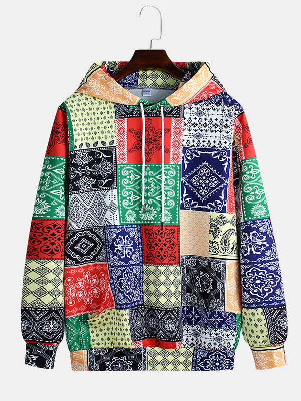 Mens National Style Printing Long Sleeve Loose Casual Hoodies