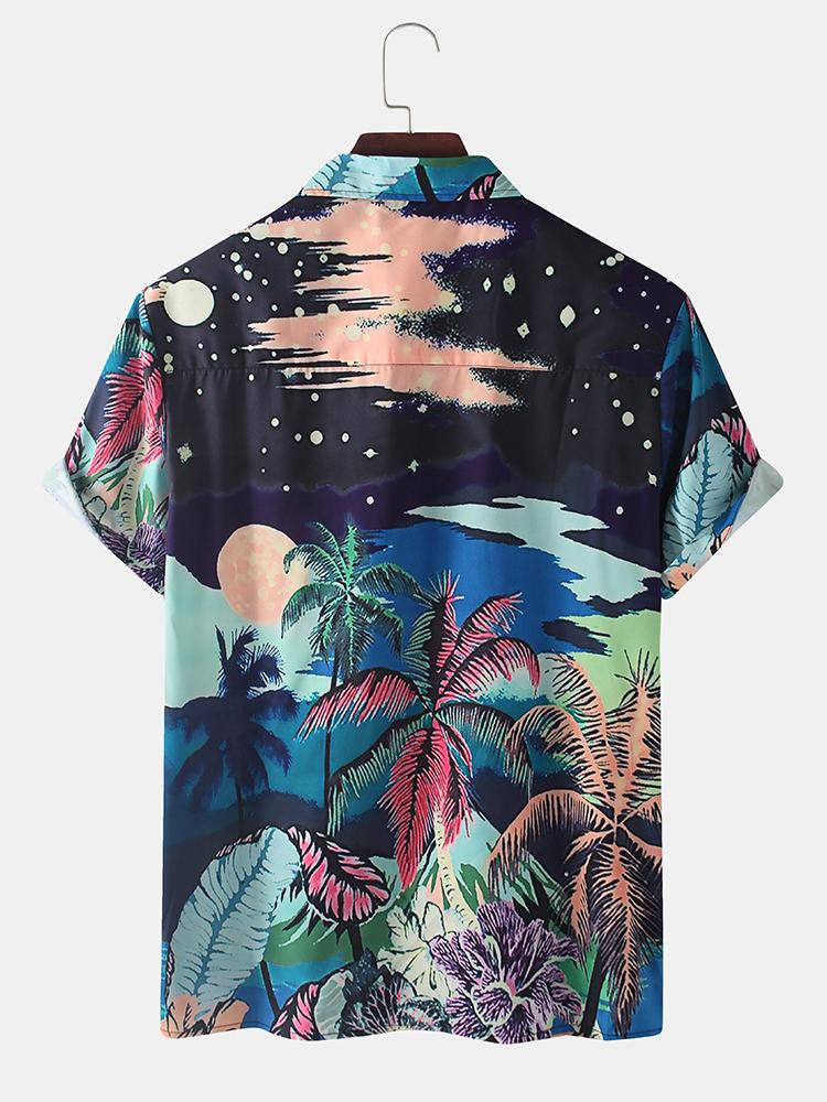 Mens Tropical Holiday Coconut Printed Buttons Short Sleeve Shirt