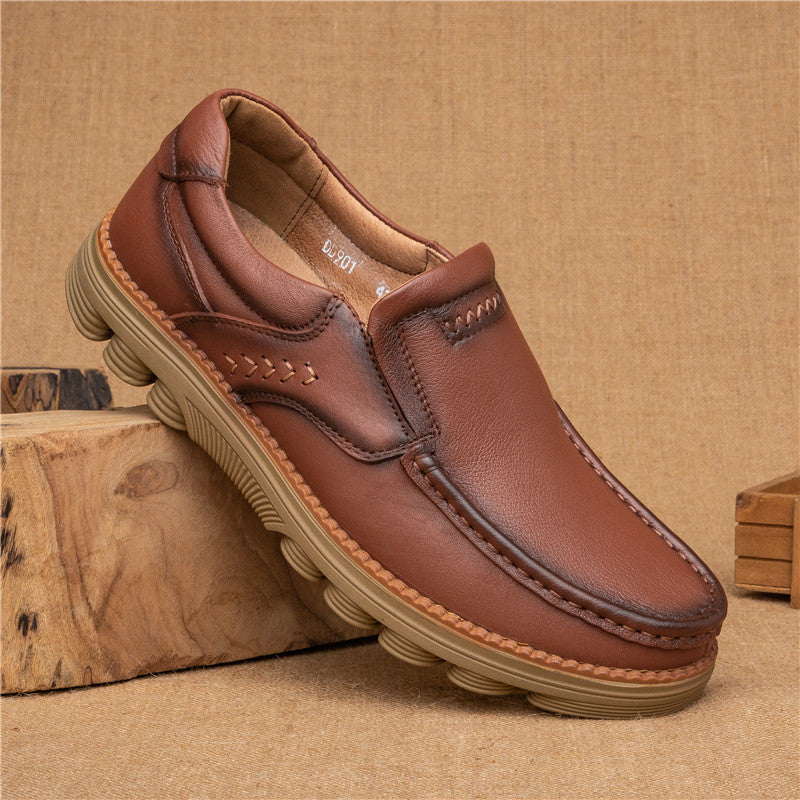 Men Genuine Cow Leather Non Slip Soft Slip On Casual Loafers