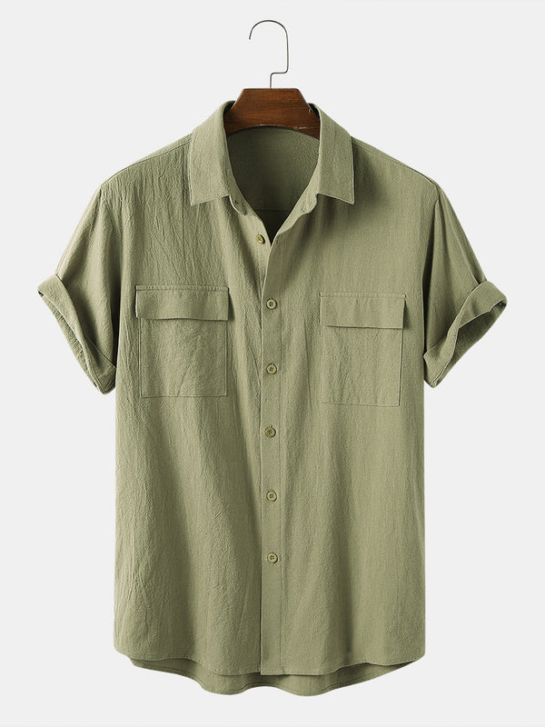 Men 100% Cotton Solid Color Double Pocket Casual Shirt