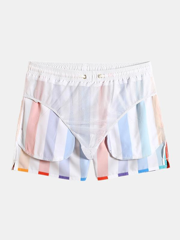 Men Colorful Stripe Swim Shorts Holiday Beach Surfing Bathing Swimsuits Board Shorts