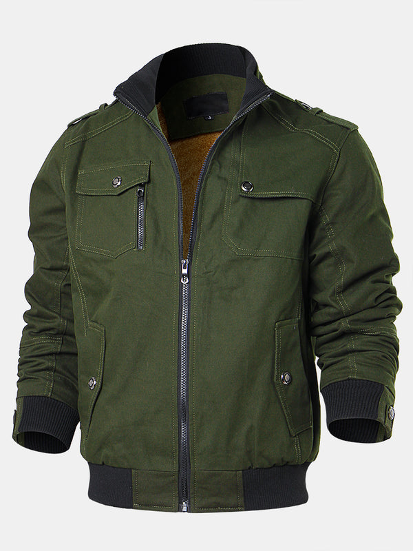 Mens Cotton Plush Liner Multi Pockets Solid Color Windproof Cargo Jackets