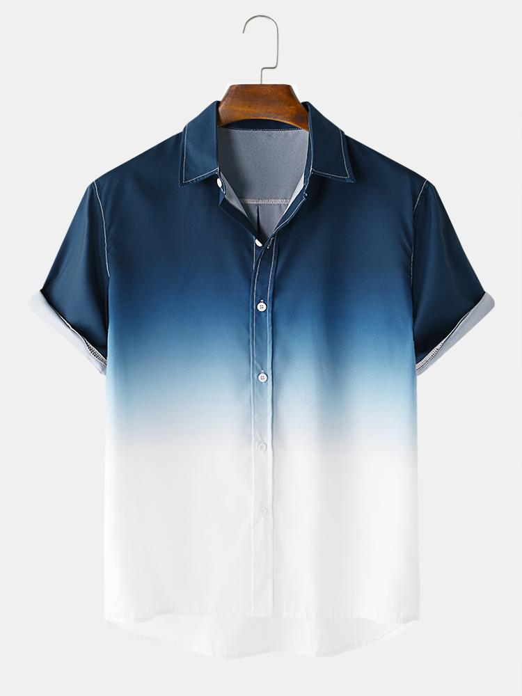 Mens Gradient Casual Short Sleeve Turn-down Collar Shirt