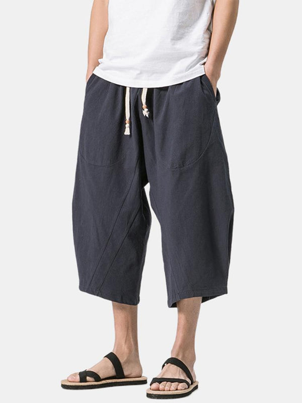 Mens Simple Solid Color Linen Calf-Length Drawstring Waist Harem Pants