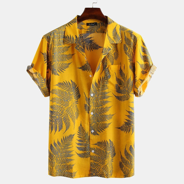 Mens 100% Cotton Leaf Printed Chest Pocket Turn Down Collar Short Sleeve  Shirts