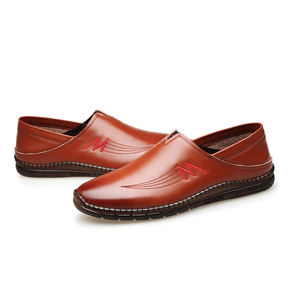 Men Classic Hand Stitching Soft Sole Slip On Casual Driving Leather Loafers