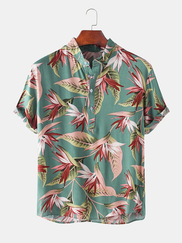 Mens Hawaiian Floral Printed Short Sleeve Henley Shirt