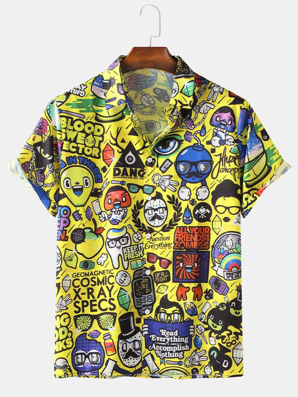 Mens Cartoon Graffiti Printed Turn Down Collar Casual Short Sleeve Shirts