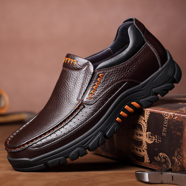 Men Genuine Cow Leather Waterproof Comfy Non Slip Soft Slip On Casual Shoes