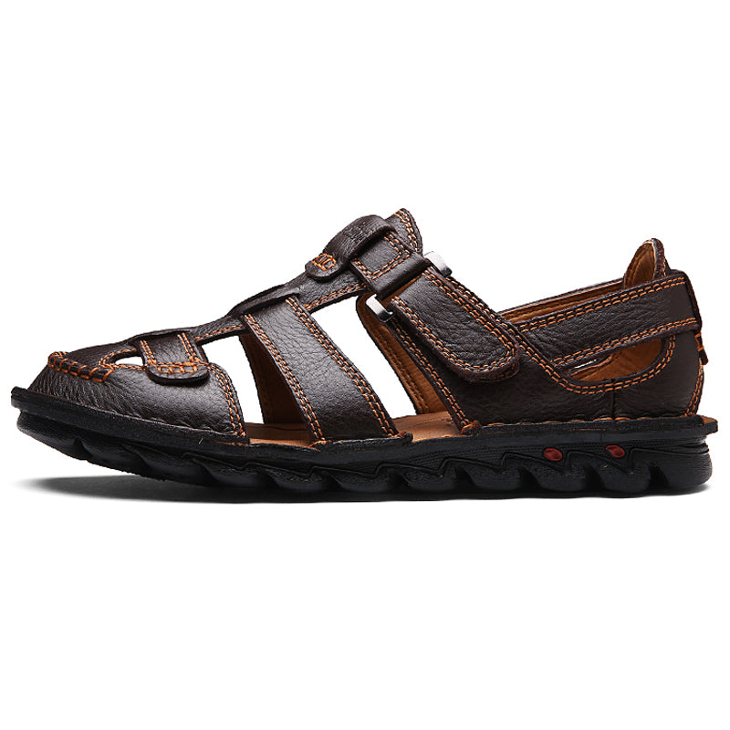 Menico Men Genuine Leather Hand Stitching Non Slip Large Size Casual Sandals