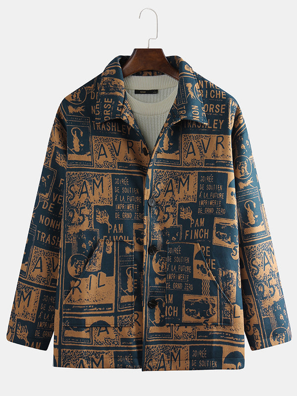 Mens Vintage Letters Printing Long Sleeve Loose Buttons Casual Jackets Coats