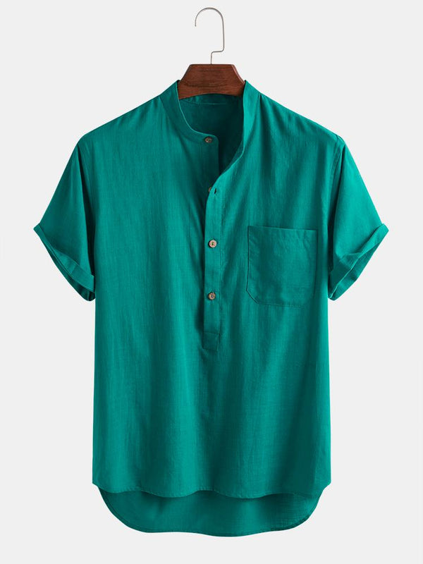 Mens 100% Cotton Breathable Stand Collar Pure Color Short Sleeve Henley Shirt
