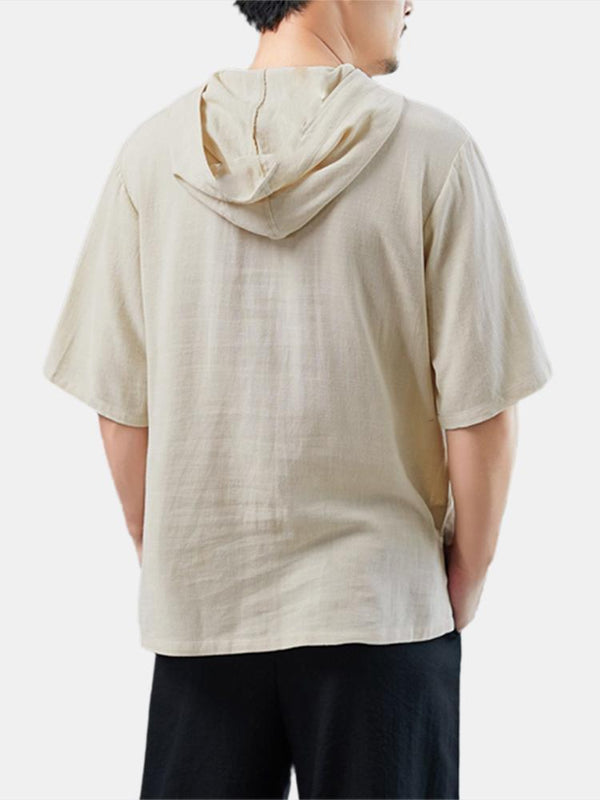 Mens 100% Cotton Oriental Hooded Tee Half-Sleeve Henley Shirt