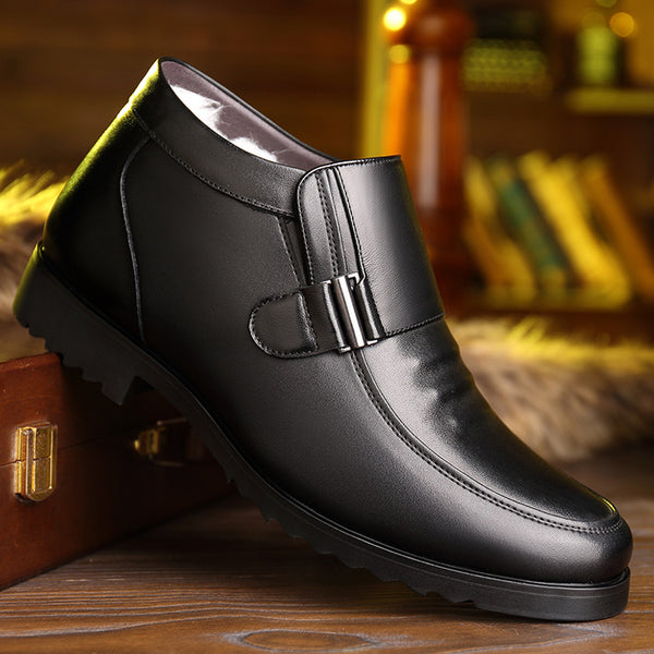Men Plush Lining Non Slip Metal Buckle Slip On Casual Leather Boots