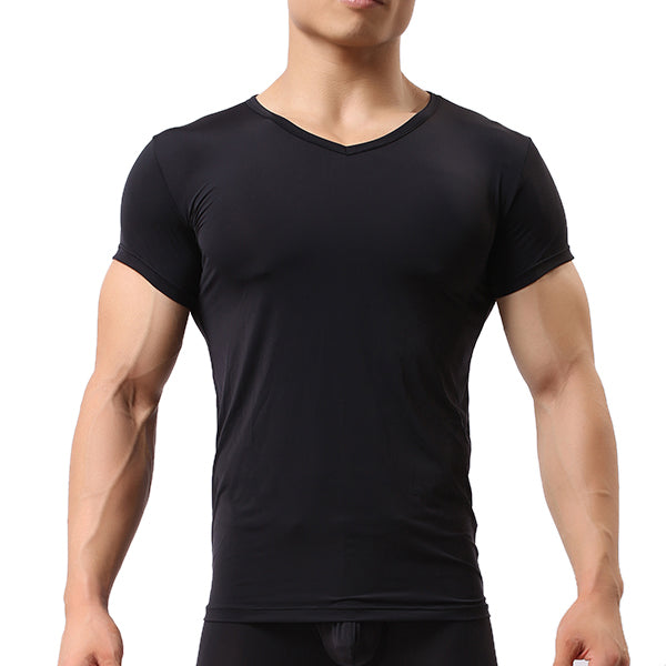 Mens Sports Bottoming Shirt Home Wear T-shirt Comfy Lycra Elastic Solid Color Breathable Tops