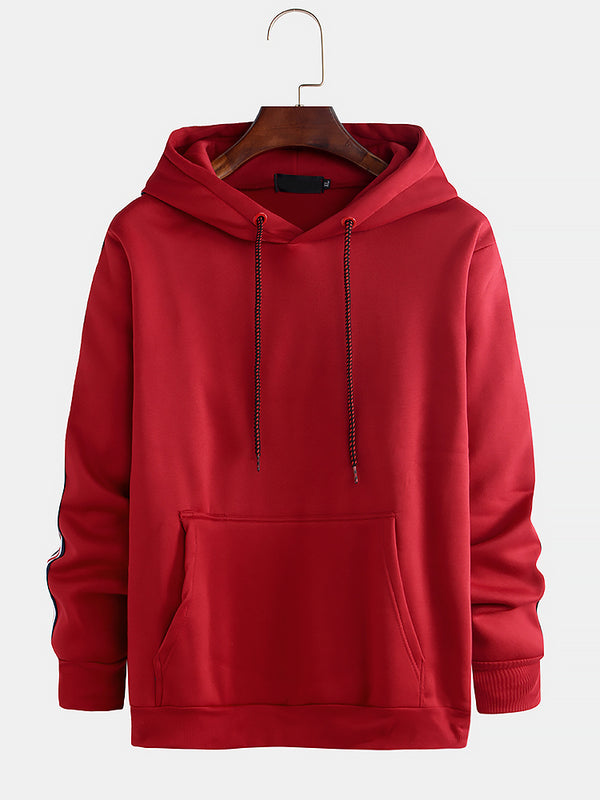 Mens Plain Solid Color Pocket Long Sleeve Drawstring Casual Hoodies