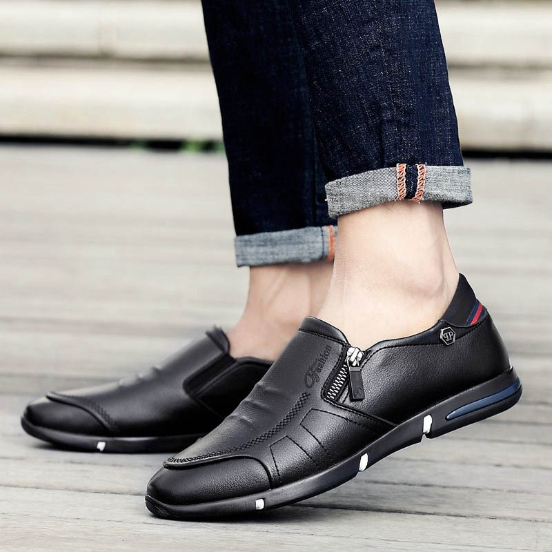 Men Side Zipper Comfy Soft Sole Slip On Casual Shoes