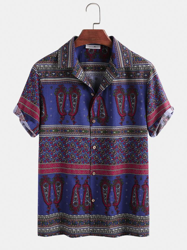 Mens 100% Cotton Ethnic Pattern Printed V-neck Casual Short-sleeved Shirt