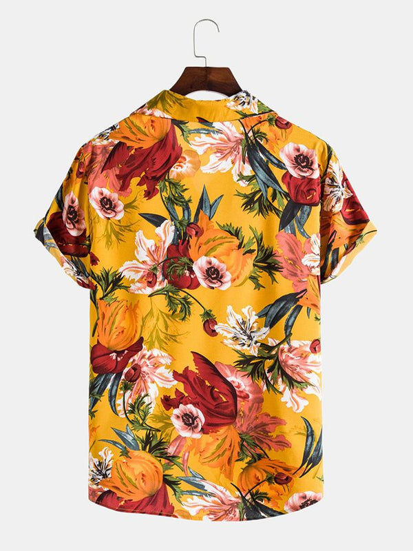 Mens Oil Painting Floral Printed Holiday Chest Pocket Short Sleeve Lapel Colalr Shirt