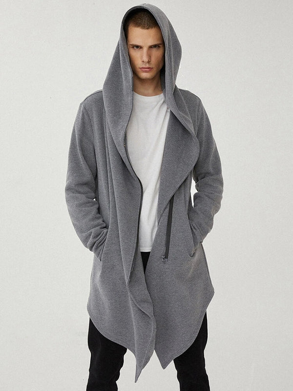 Mens Plain Zipper Front Irregular Hem Loose Designer Mid Length Hooded Jackets