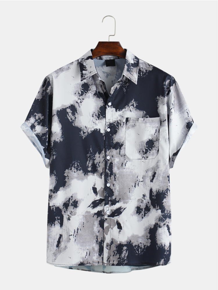 Mens Abstract Ink Printed Chest Pocket Short Sleeve Casual Shirts