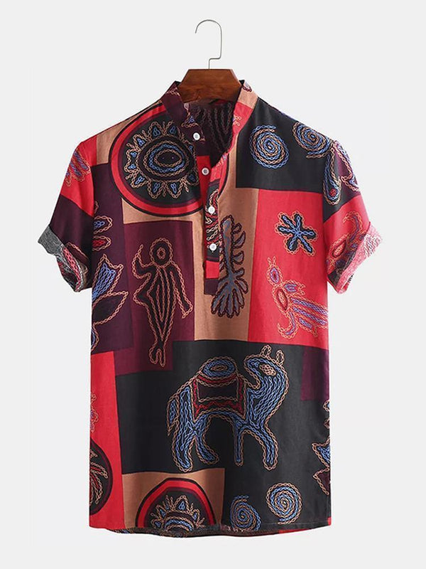 Men Cotton Ethnic Floral Printed Casual Henley Shirt